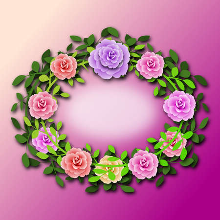 Corona de rosas para mensaje personalizado Foto de archivo - 95833280