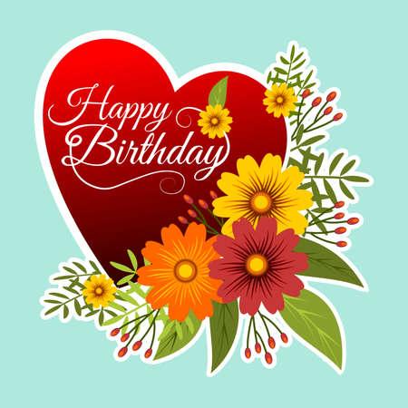 誕生日おめでとうのメッセージと青い背景にハートと花のフレーム