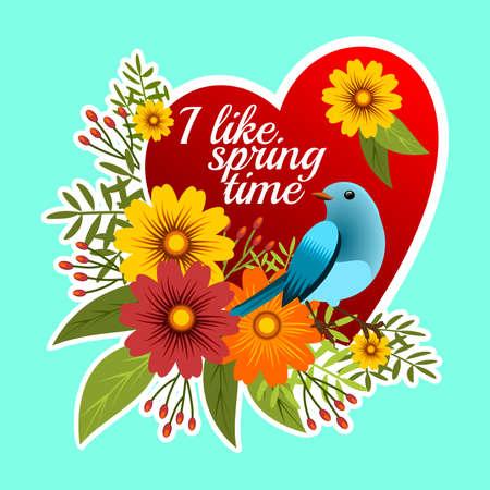 春時間に関するメッセージ付きの花のフレーム