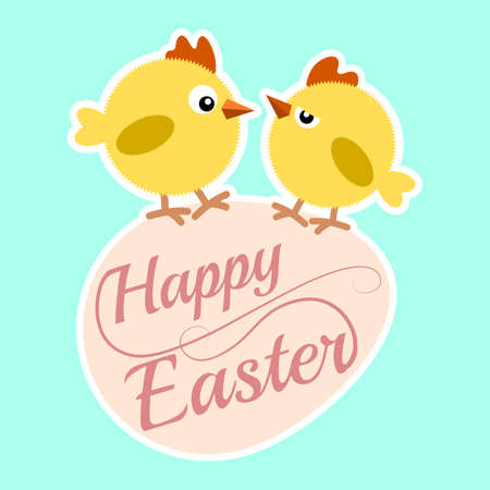 Happy Easter Frame with egg and chicks, Vector illustration.