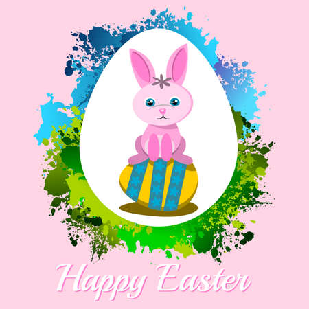 Happy Easter Frame with rabbit on pink background