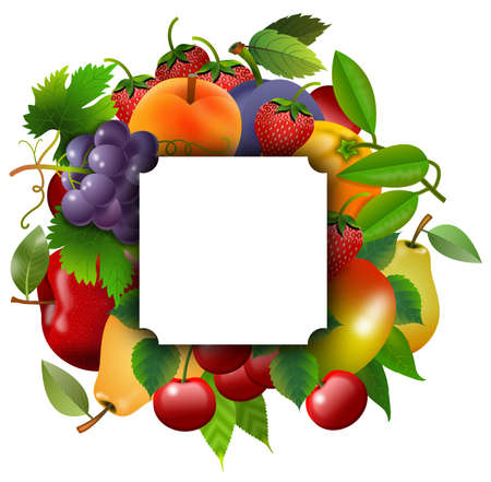 Group of fruit with square sticker