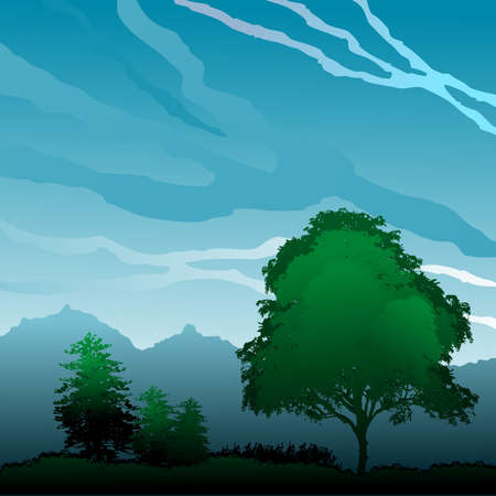 Landscape with trees in blue sky with clouds