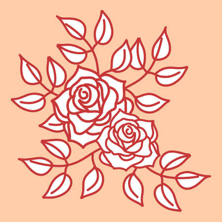 Roses in sketch style on pink background