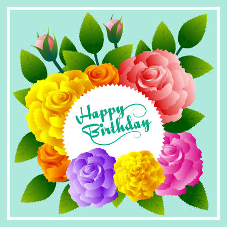 Happy Birthday floral frame with roses