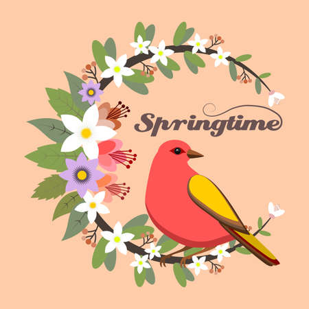 Springtime floral frame with a red bird