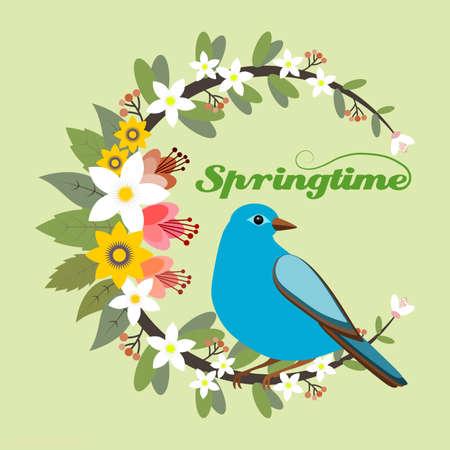 Springtime floral frame with a blue bird Illustration