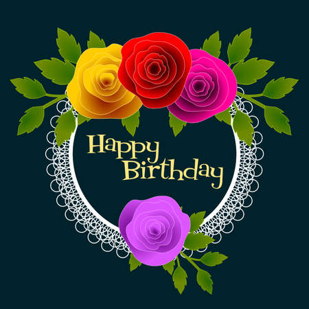 Happy Birthady floral frame with stylized roses