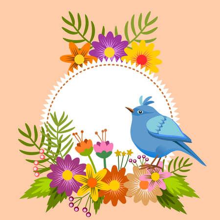 Bloemen lijst, met vogel en etiket om een bericht te personaliseren
