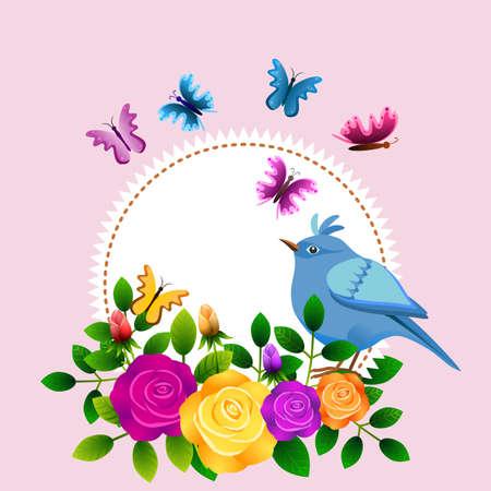 Bloemenlijst met rozen, vogels, vlinders en etiket om een bericht te personaliseren Stock Illustratie