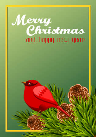 Christmas frame with pine branch, pine cone and red bird