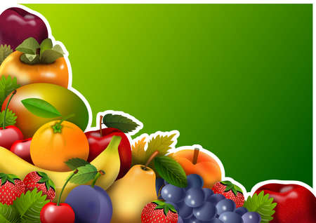 Panel with fresh fruit group, with green background, ideal for personalizing announcement or message