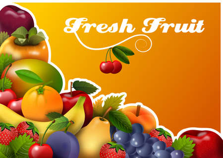Panel with fresh fruit group, with orange background and message Reklamní fotografie