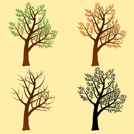 A stylized tree in different styles, isolated allowing different customizations Illustration