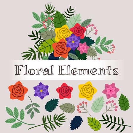 Cadre avec des éléments floraux isolés pour la personnalisation Banque d'images - 96351192