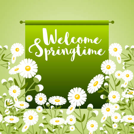 Floral frame with daisies allusive to the arrival of springtime