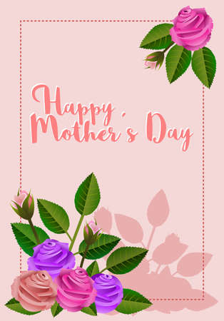 Frame with roses and message allusive to Mothers Day vector illustration