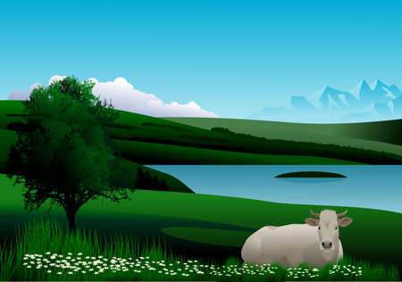 Landscape with blue sky, mountains, green hills, lake, trees and a cow to rest