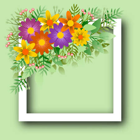 Floral frame with bouquet of stylized flowers on light background, ideal for personalizing message