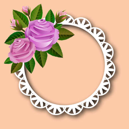 Floral frame with bouquet of roses on green background, ideal for personalizing message Ilustrace