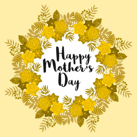 Golden floral frame, with circular arrangement, allusive to Happy Mothers Day