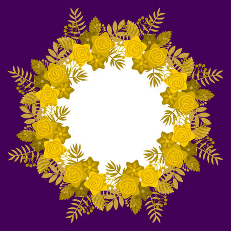 Floral frame in golden tone, with circular arrangement, and center in violet color, ideal for personalizing message