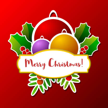 Merry Christmas frame with stylized decorative elements relating to the date, on red background Иллюстрация