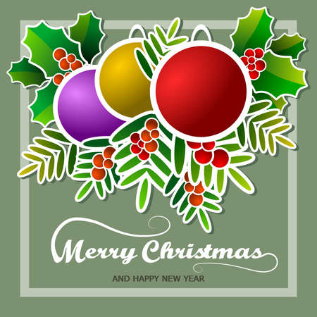 Merry Christmas frame with stylized decorative elements relating to the date, on green background