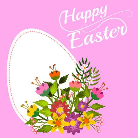 Het gelukkige bloemenframe van Pasen, vectorillustratie.