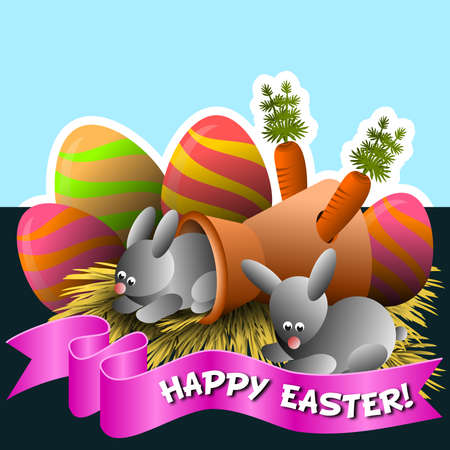 Frame with the theme of Happy Easter, with bunnies and decorative eggs, and ribbon with message. Фото со стока