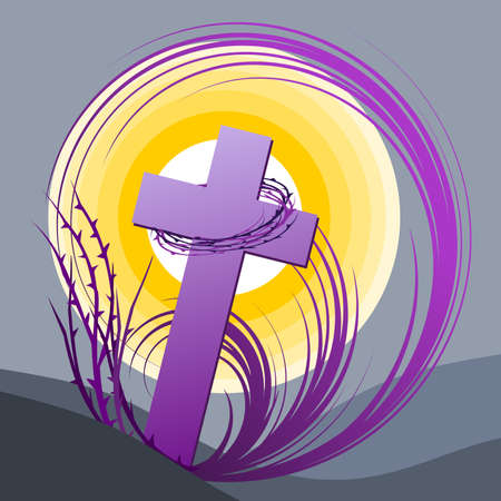 Symbolic frame alluding to the theme of the time of Lent. Vector illustration. Çizim