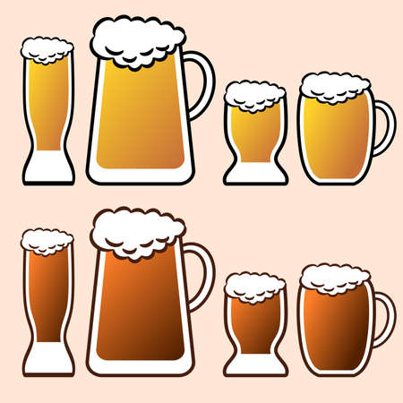 Set of mugs and cups with beer. Vector ilustration. Stock Illustratie