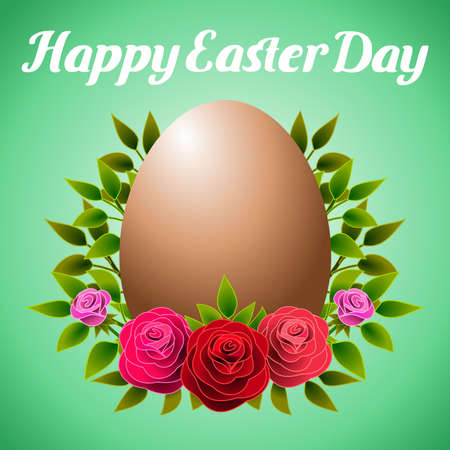 Floral frame allusive to Easter day, with roses and an egg Vector illustration