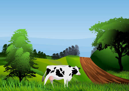 Rural landscape with cow vector illustration