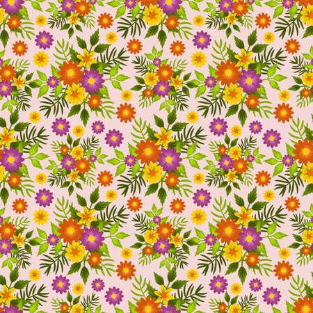 Frame with seamless floral pattern, for fabric or wallpaper. Vector illustration.