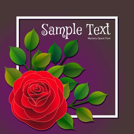 赤いバラと緑の葉を持つ花のフレームとパーソナライズすることができるメッセージ。ベクターの図。