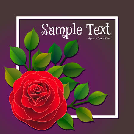 Floral frame with a red rose and green leaves with a message that can be personalized. Vector illustration.