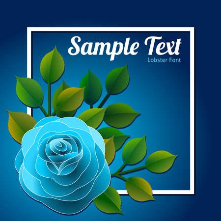 青いバラと緑の葉を持つ花のフレームは、パーソナライズされたベクターイラストすることができますメッセージと。