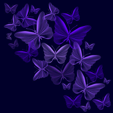 Frame with purple stylized butterflies over purple background. Vector illustration.