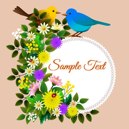 Floral frame with various flowers, birdie, ladybug and label with customizable text. Vector illustration.