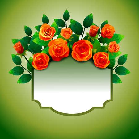 Marco floral sobre fondo verde, con ramo de rosas de color fuego, con etiqueta central para insertar texto personalizado. Foto de archivo - 98214887
