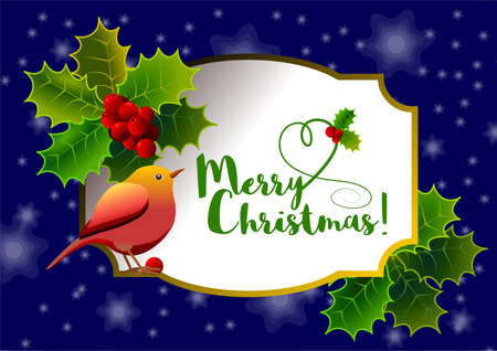 Christmas card with floral motif, with holly, red berries, bird and central label with message. Vector illustration. Çizim