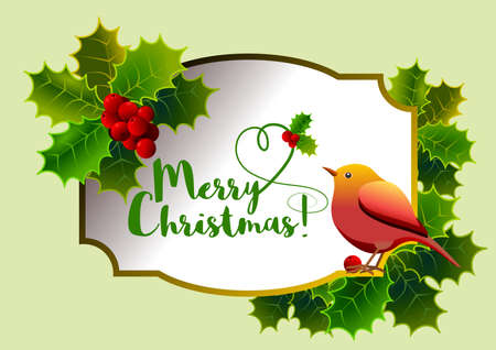 Christmas card with floral motif, with holly, red berries, bird and central label with message. Vector illustration. Illustration