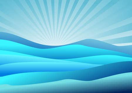 Landscape with blue sky, and blue hills vector illustration. Ilustração