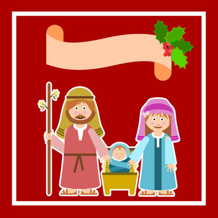 Christmas frame with holy family and floral ornament. Vector illustration. Иллюстрация