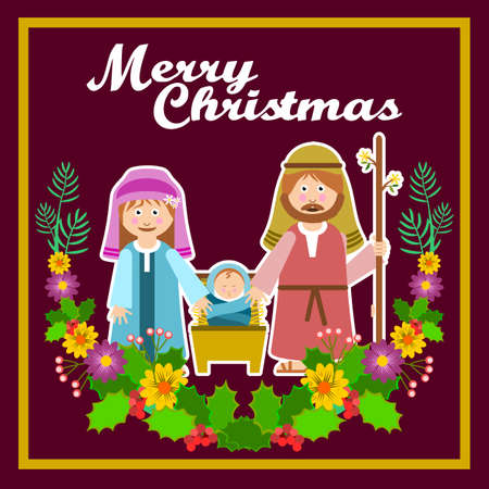 Christmas frame with holy family and floral ornament. Vector illustration. Illustration