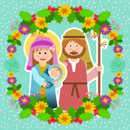 Christmas frame with holy family and floral ornament vector illustration. Иллюстрация