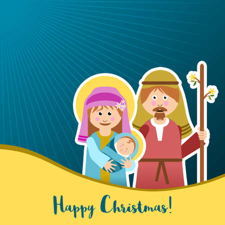 Christmas frame with holy family vector illustration.