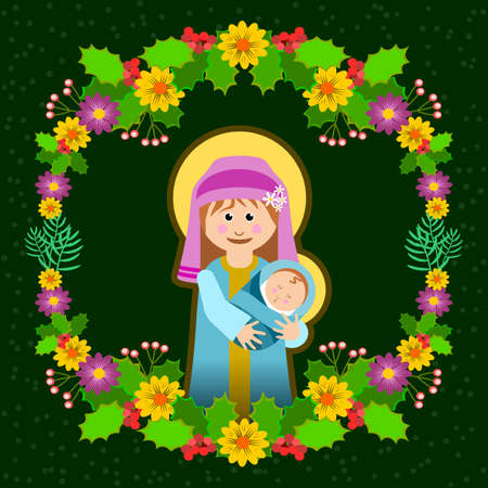 Christmas frame with Mary and the child Jesus and floral ornament vector illustration.