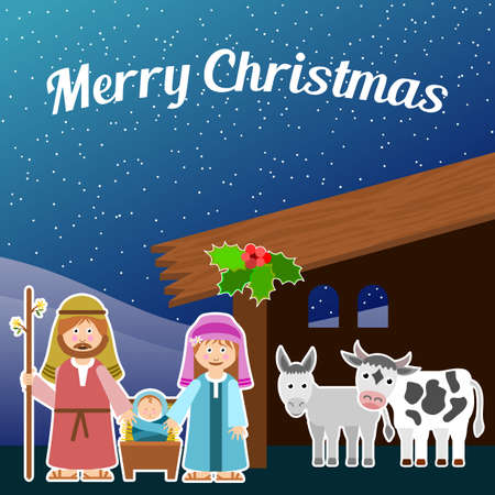 Design with Christmas scene. Vector illustration.